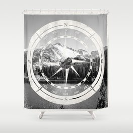 Mountain and Compass Shower Curtain