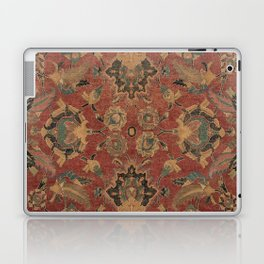 Flowery Boho Rug V // 17th Century Distressed Colorful Red Navy Blue Burlap Tan Ornate Accent Patter Laptop & iPad Skin