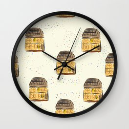 Seamless Pattern with Cute European Houses Wall Clock