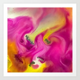 Pink watercolor abstraction painting Art Print