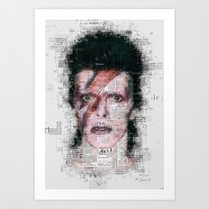 David Bowie Newspaper Style Art Print