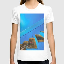 blue and brown old wood stairs with blue wall background T-shirt