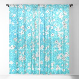 turquoise blue white floral pattern Sheer Curtain
