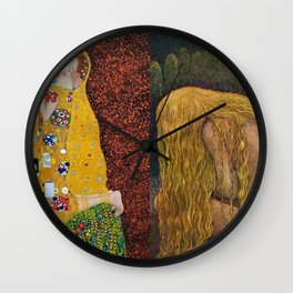 The Kiss & The Girl Who Lost Everything collage by Gustav Klimt and John Bauer portrait painting Wall Clock
