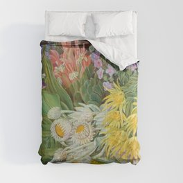 Medley of Wild Summer Mountain Flowers still life painting Comforters