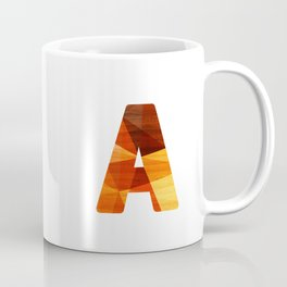 Letter A - Wooden Capital Typography Coffee Mug