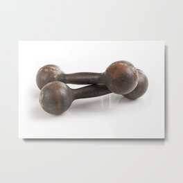 Old iron dumbbells weights Metal Print
