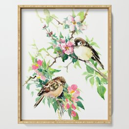 Sparrows and Apple Blossom, spring floral bird art Serving Tray