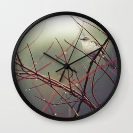 Bird and Red Branches Wall Clock