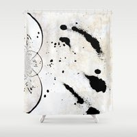 radio Shower Curtains featuring Radio Frequency by Angela Pesic