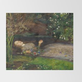 Ophelia, John Everett Millais Throw Blanket