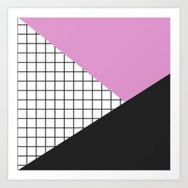 Geometry: black, pink and squres Art Print