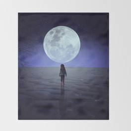 Moon alk Throw Blanket