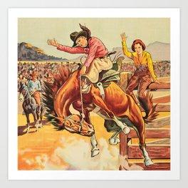 Vintage Western Rodeo Cowboy On Bucking Horse Art Print