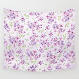 Little Purple and Pink Flowers Wall Tapestry