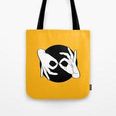 Sign Language (ASL) Interpreter – White on Black 09 Tote Bag