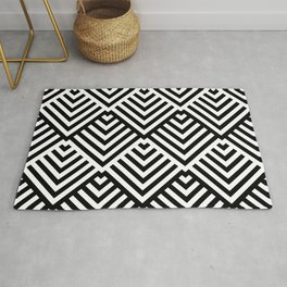 Op art pattern with black and white striped lines Rug