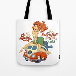 In Boogie and Rockn'roll we trust Tote Bag