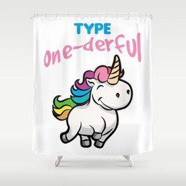 TYPE ONE DERFUL Diabetes Diabetic funny Unicorn Shower Curtain