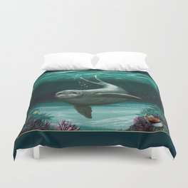 """Hawaiian Monk Seal"" by Amber Marine ~ Acrylic Painting, (Copyright 2015) Duvet Cover"