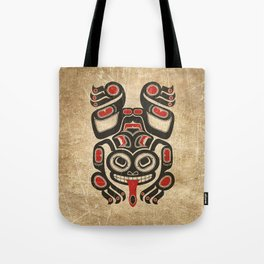 Red and Black Haida Spirit Tree Frog Tote Bag