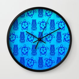 Blue Honu And Tiki Mask Wall Clock