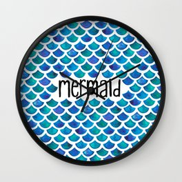 Mermaid Scales in Blue Wall Clock
