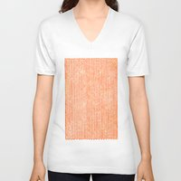 fabric V-neck T-shirts featuring Stockinette Orange by Elisa Sandoval