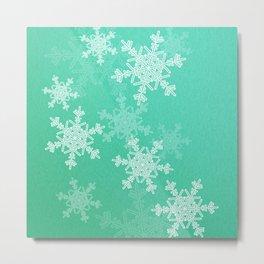 Turquoise snowflakes Metal Print