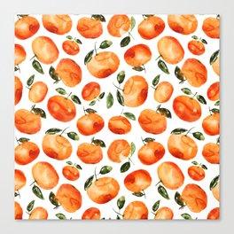 Watercolor tangerines Canvas Print