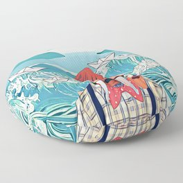Walrus and the paper boats Floor Pillow