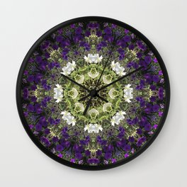 Icy White and Rich Violet Petunias Kaleidoscope Wall Clock