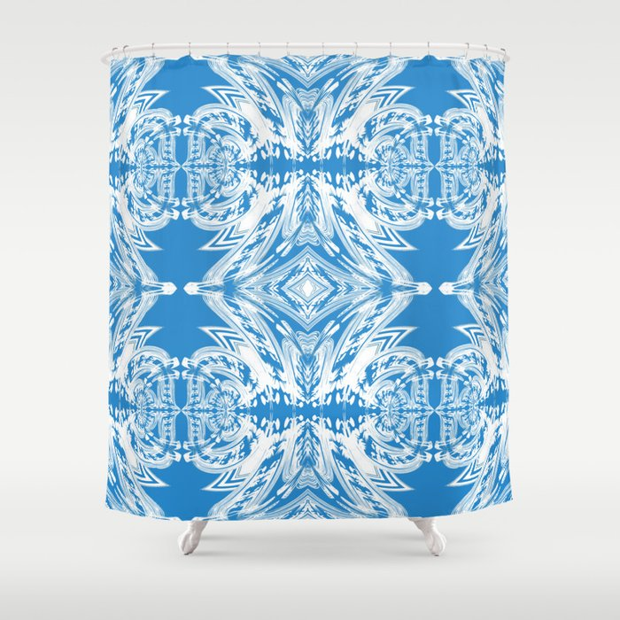 Blue And White Classy Psychedelic Shower Curtain By Carlieamberpartridge