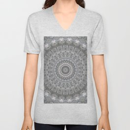 Mandala in white, grey and silver tones Unisex V-Neck