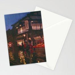 12,000pixel-500dpi - Yoshida Hiroshi - Tokyo Junidai, Kagurazaka Street-rainy Night Stationery Cards