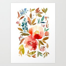 Red Turquoise Teal Floral Watercolor Art Print