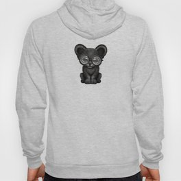 Cute Baby Black Panther Cub Wearing Glasses on Blue Hoody