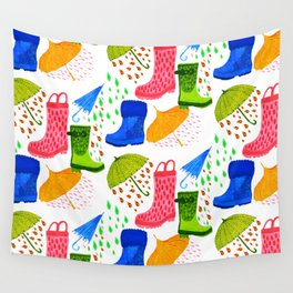 Gumboots and Puddles Wall Tapestry