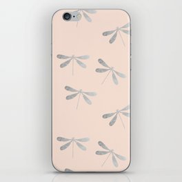 dragonfly pattern: silver & rose iPhone Skin