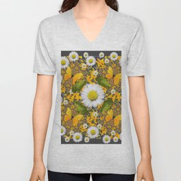 GREEN FROGS & YELLOW  BUTTERFLY WHITE DAISIES Unisex V-Neck