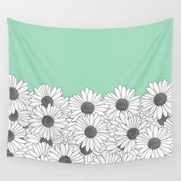 Daisy Boarder Mint Wall Tapestry