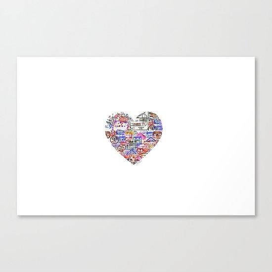 True Love, Passport Stamp Heart Canvas Print