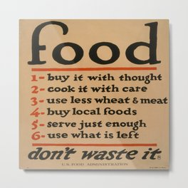 Vintage poster - Don't Waste Food Metal Print