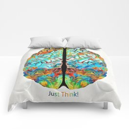 Colorful Brain Art - Just Think - By Sharon Cummings Comforters