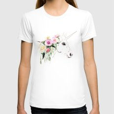Unicorn, flowers, watercolor Womens Fitted Tee SMALL White