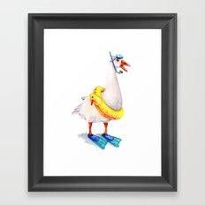 Snorkeling Goose Framed Art Print