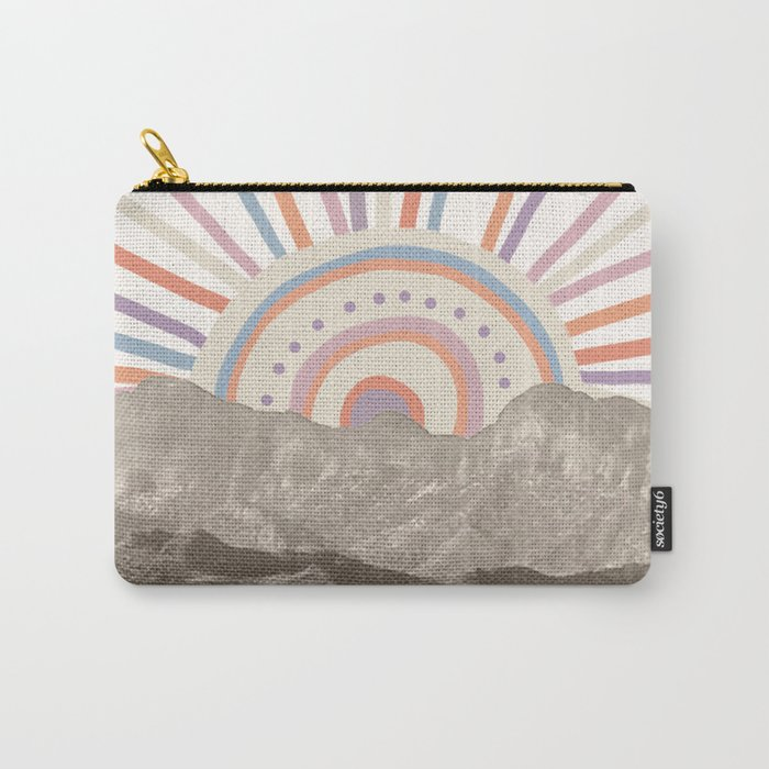 Summerlin Mountain Up // Abstract Vintage Mountains Summer Sun Surf Beach Vibe Drawing Happy Wall Ha Carry-All Pouch