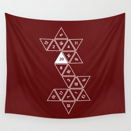 Red Unrolled D20 Wall Tapestry