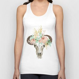 Bohemian bull skull with flowers Unisex Tank Top