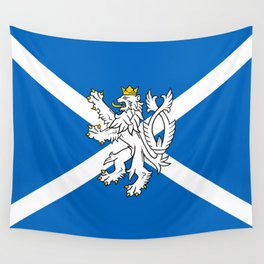 Blue and White Scottish Flag with White Lion Wall Tapestry